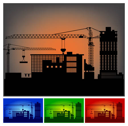 industrial complex: Construction of a new industrial complex, factory, building illustration