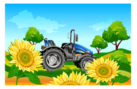 Agricultural machine, tractor in dark blue color, on field, vector an illustration Vector