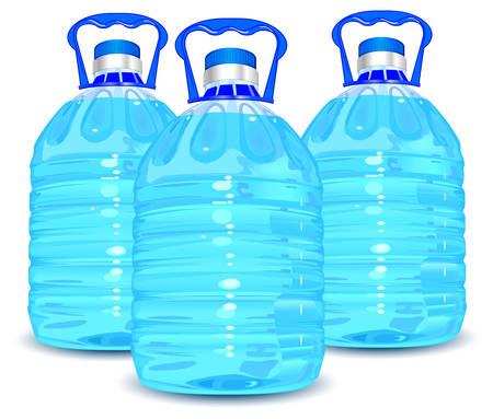 mineralien: Drei gro�e Flaschen Wasser mit Griff Vektor