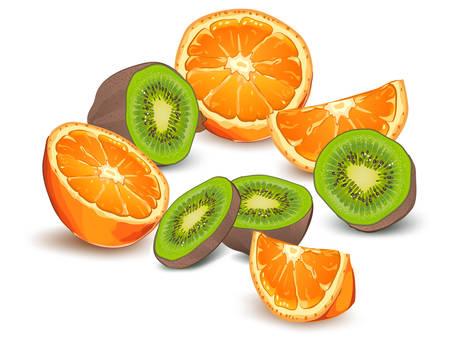 Whole and half orange and kiwi on white background, vector illustration Vector