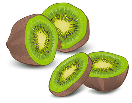 Whole and half kiwi on white background, vector illustration Vector