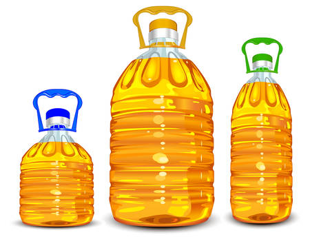 clarity: Three oil bottles different size with handle isolated on white, vector illustration Illustration