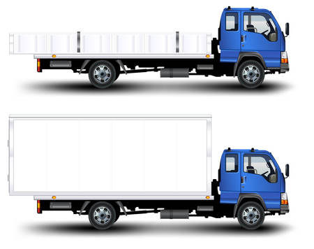 Vector trailer, transports machine, isolated object on white background, illustration Vector