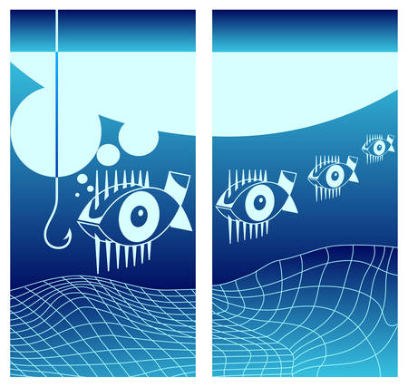 Biting fishes background in blue, underwater vector illustration Vector