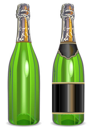 Isolated bottle of champagne with blank label on white background Vector