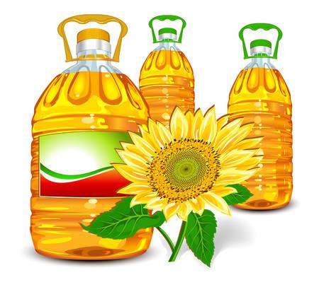 graine tournesol: Bouteille d'huile de tournesol et d'isolement sur le blanc, illustration vectorielle