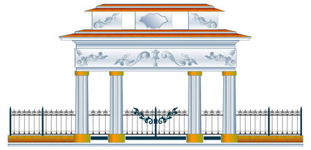 column arch: Column arch and decorative metal fence, vector illustration Illustration