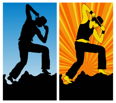 cleavage: Dancing boy, silhouette on blue and color background, vector illustration