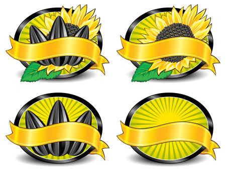 graine tournesol: D�finir des mod�les pour les �tiquettes avec les graines de tournesol, des bras, de l'emballage, illustration vectorielle