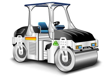 compactor: Asphalt skating rink, white compactor, vector illustration