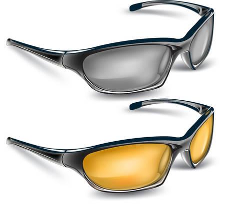 Occhiali da sole con vetri di colore, illustrazione vettoriale su sfondo bianco Vettoriali