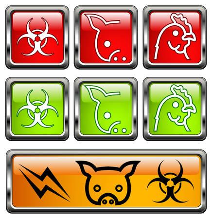 swine flue: Vector bio-hazard warning symbol on yellow caution sign, illustration Illustration