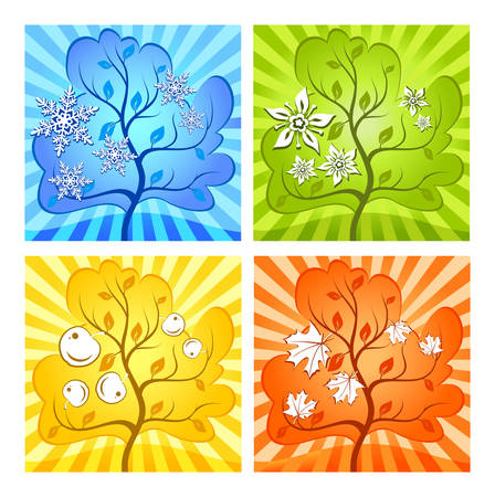 snowdrifts: Paesaggio delle diverse stagioni estate, inverno, primavera, autunno, illustrazione meteo
