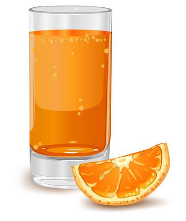 orange juice glass: Bicchiere di succo d'arancia isolato su bianco, illustrazione vettoriale
