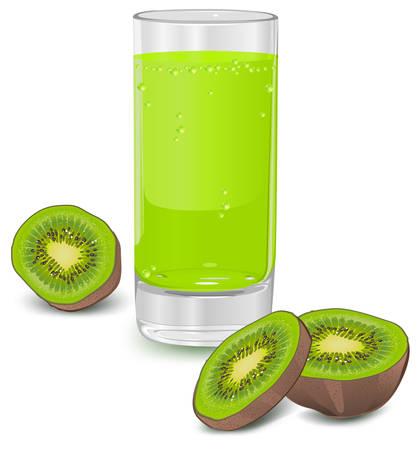 Glass of kiwi juice isolated on white, vector illustration Иллюстрация