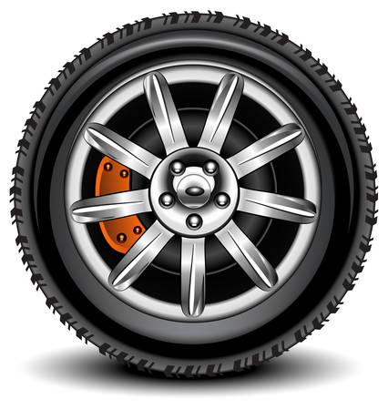 tyre tread: Car wheel in details on white background with shadow, vector, illustration