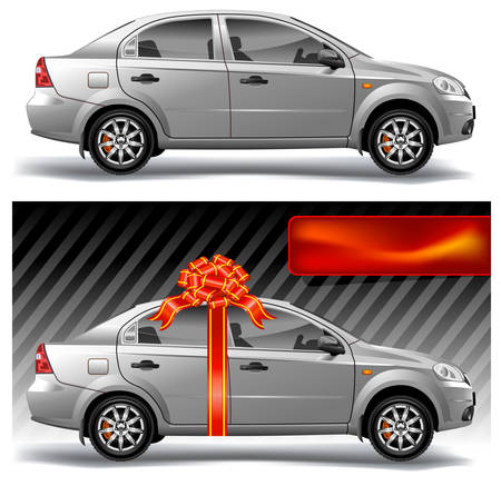 New model of vector auto with red bow, vector, illustration Vector