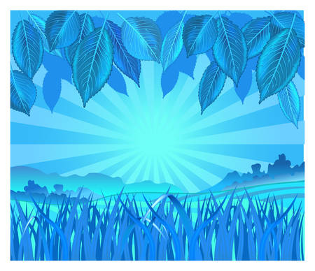 merriment: Vector background with leaf and grass in blue color, illustration