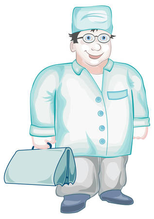 ed: Doctor with first-aid set costs near case of hospital, vector illustration Illustration