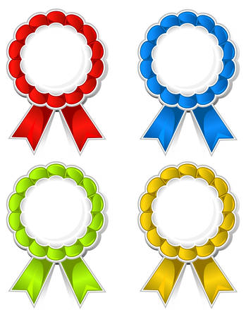Isolated color ribbon medallions with space for text, vector illustration Stock Vector - 5263948