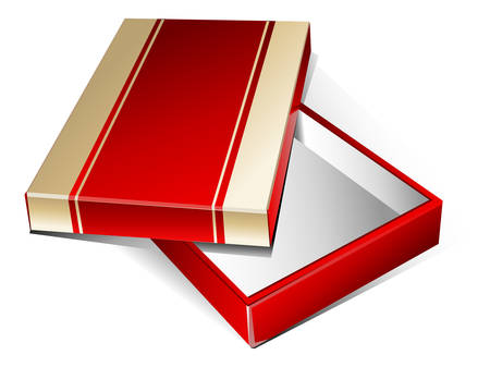 gladness: Gold-red box surprise with gold tape, wrapper for gift, vector illustration