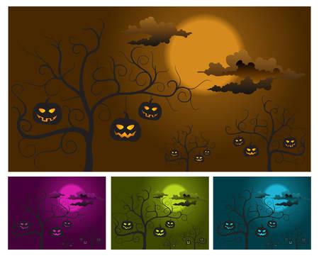 Halloween pumpkins on trees, night background, vector illustration  Stock Vector - 5413574