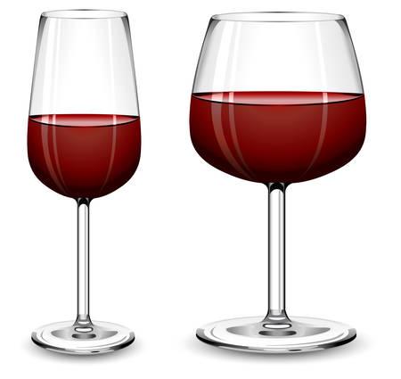 Bicchieri di vino rosso su sfondo bianco, illustrazione vettoriale