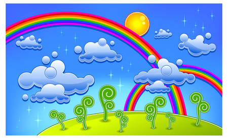 Grass, trees and two rainbow, cartoon landscape, vector illustration Vector