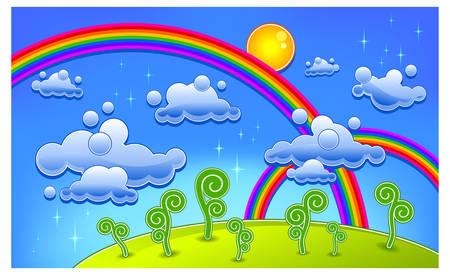 paysage dessin anim�: Herbe, les arbres et deux en-ciel, paysage bande dessin�e, illustration vectorielle Illustration