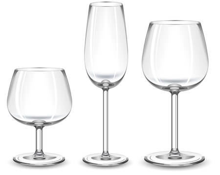 inebriated: Three glasses fo alcohol drink on white background, vector illustration