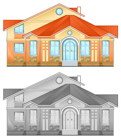 Drawing of country residence, two-storeyed house with greater windows, illustration Stock Vector - 5589822