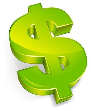 Dollar symbol isolated on a white background, vector illustration Иллюстрация