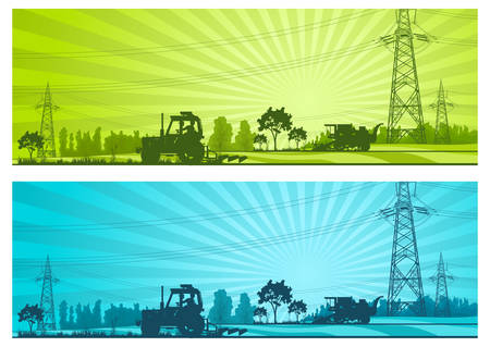 Agriculture landscape with machineries and high-voltage line, vector illustration