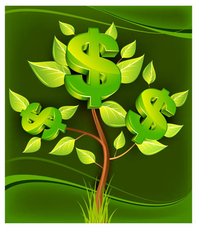 retirement: Tree growing currency with dollar sign on green background, illustration