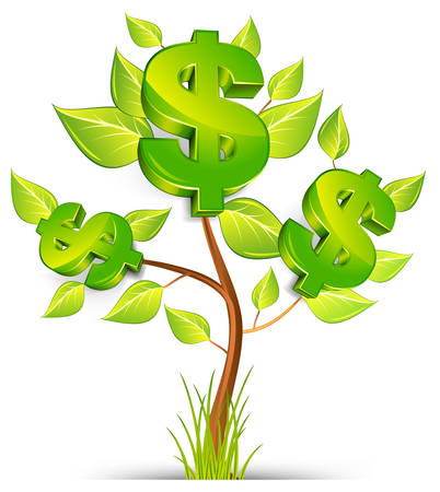 grow money: Green tree growing currency with dollar sign on white background