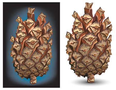 pinetree: Cono de pino aislado en el fondo de color blanco Vectores