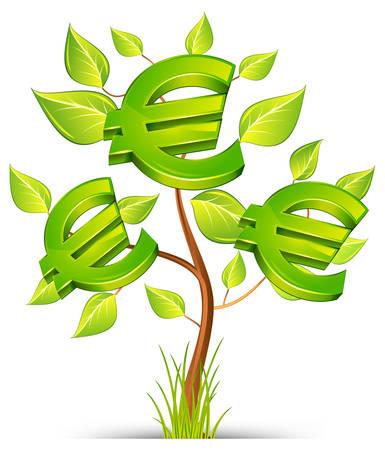 euro teken: Green tree groeiende munt met het euro symbool op witte achtergrond, vector illustratie  Stock Illustratie