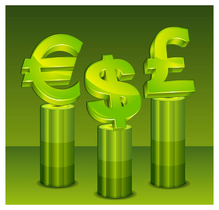 Currency symbol on green pedestal over green background,  illustration Vector
