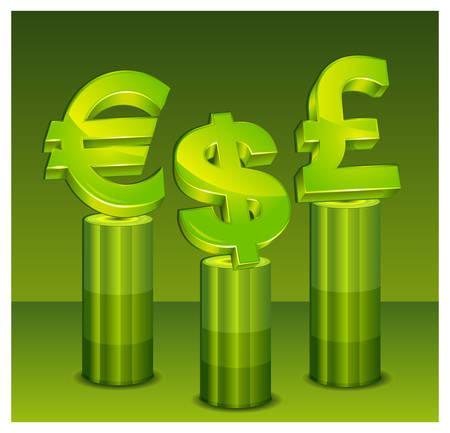 Currency symbol on green pedestal over green background,  illustration Vector