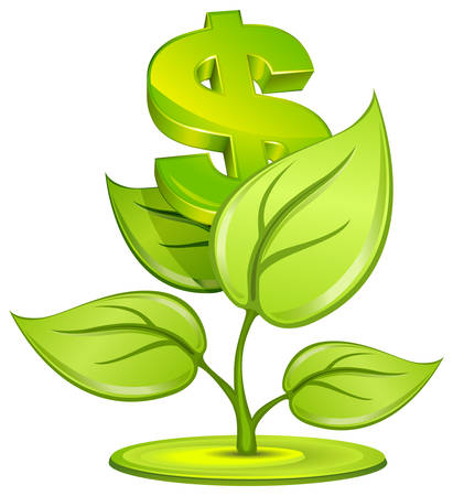 Plant growing currency with dollar sign on white background, vector illustration Stock Vector - 5745825