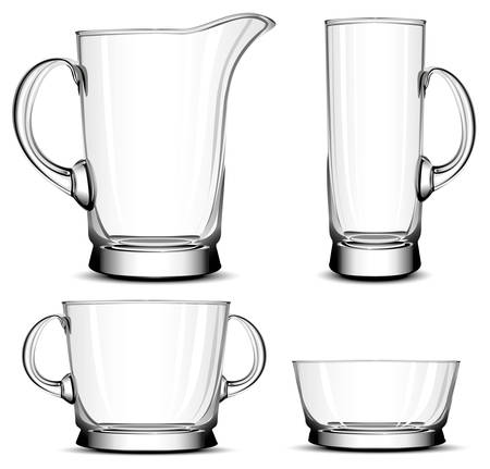 tableware: Glass tableware, decorative objects of household Illustration