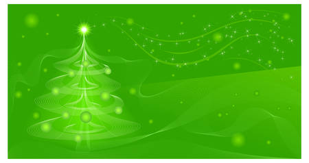 Beautiful winter background in green color, vector illustration Vector
