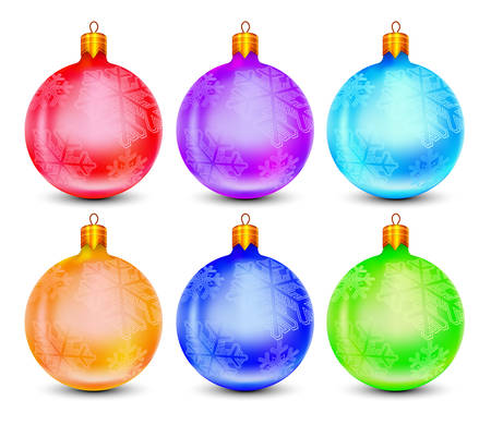 Christmas baubles, multicolor balls isolated on white, vector illustration Stock Vector - 5884218
