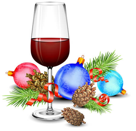 wine gift: Christmas wine glass, cones, green branch, ball and ribbon, isolated on white