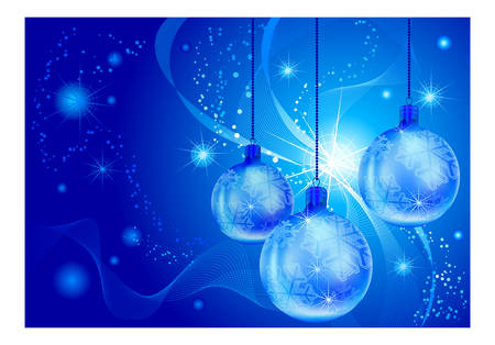New years card with baubles and lines illustration in blue background Vector