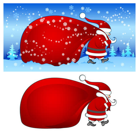 Christmas Santa Claus with big red bag walking in snow, vector illustration Vector