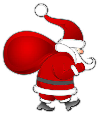 Santa Claus with red bag of Christmas gifts, vector illustration Vector
