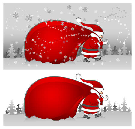 sacks: Christmas Santa Claus with big red bag walking in snow, vector illustration Illustration