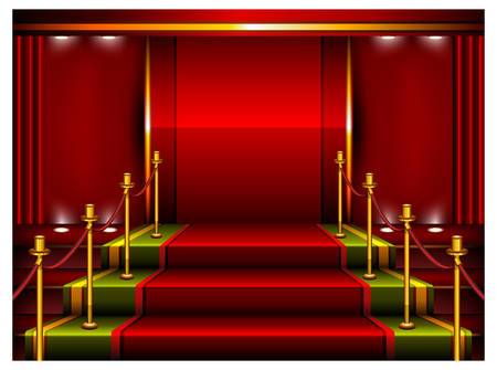 Red carpet and pedestal for rewarding ceremony, vector illustration Stock Vector - 6055166