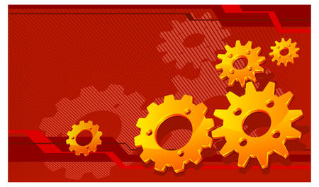 Vector gears background in red, technical, mechanical illustration pattern Stock Vector - 6083551